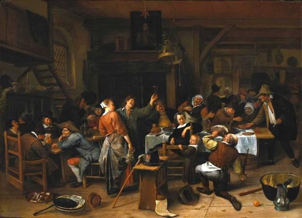 Steen Jan havicksz-Prinsjesdag. Het gezelschap viert de geboorte van prins Willem III_ 14 november 1660-1660.1679-Rijksmuseum Amsterdam