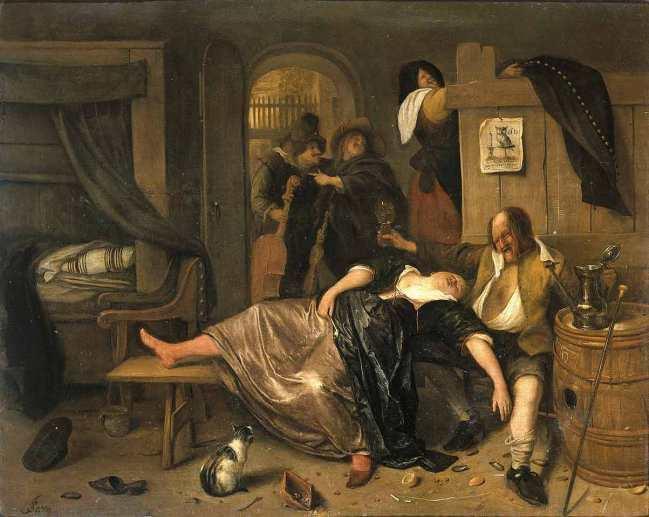 Steen Jan havicksz-Na de Drink Partij 1655.1665-panneau-Rijksmuseum Amsterdam