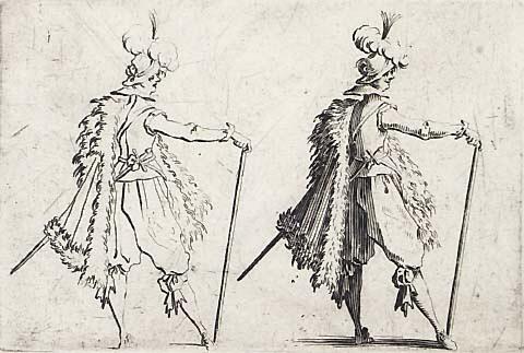 Le gentilhomme à la grande canne - Jacques Callot 1621-22-gravure-Mackelvie Trust Collection