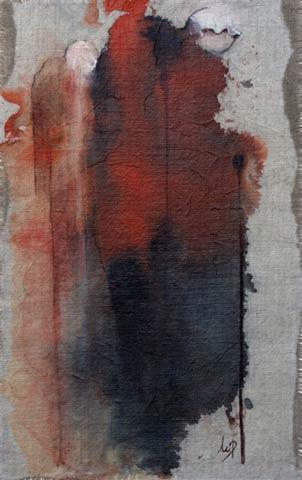 La dame à la canne  - Estampe d'encre marouflée sur toile de lin-Marianne Parchet-Suisse 2