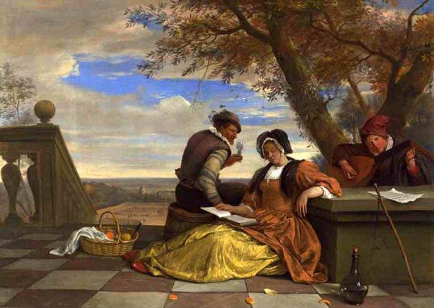 Jan Steen-Deux hommes & une femme font de la musique sur la terrace-National Gallery London