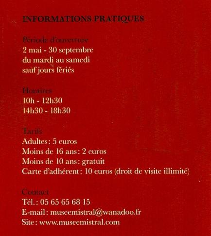 CANNES - Musée Aline Brisebois infos pratiques