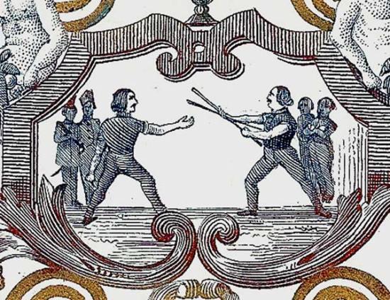 carte porcelaine-escrime à la canne-Gand-détail