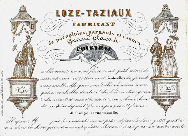 carte porcelaine-fabricant de cannes-Loze-Taziau-Courtrai