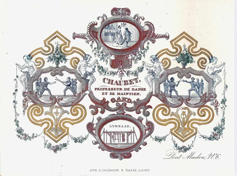 carte porcelaine-gymnastique,escrime à la canne,danse et maintien-Gand