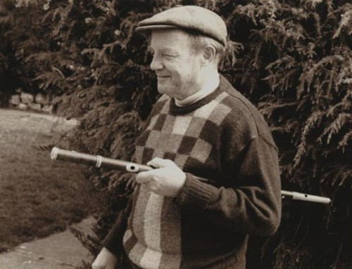 Portrait of Tim Whelan with Oliver Goldsmith's walking stick flute-Photographer Meredith John 1920-2001-nla.pic-an7497136-173-b.jpg