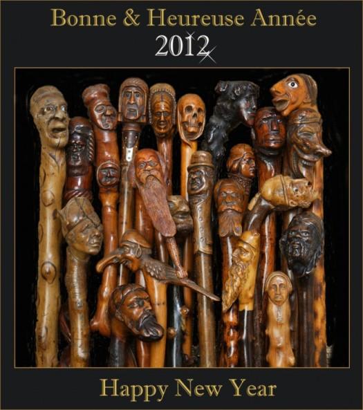 cannes,cannes naturelles,art populaire,bois sculpté,Bonne Année,2011,grotesque,canne sculptée,monoxyle,