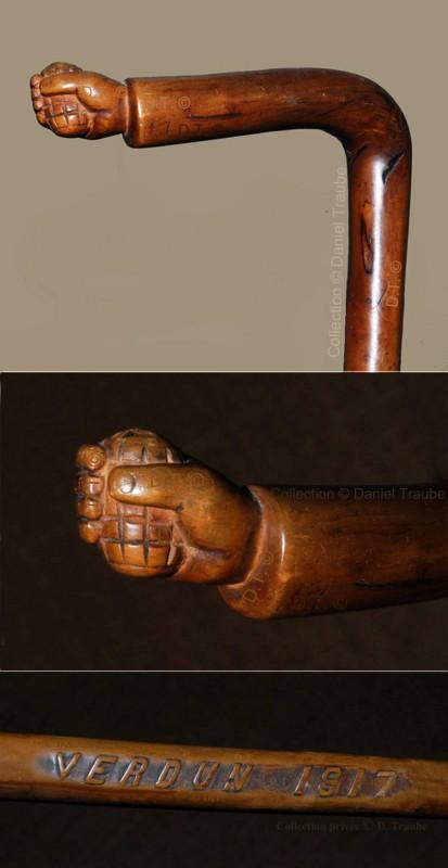 ww1,1ww,guerre,14-18,canne,bâton,art,art populaire,walking stick,art des tranchées,trench art,soldat,poilu,grenade,main,Verdun,1917,