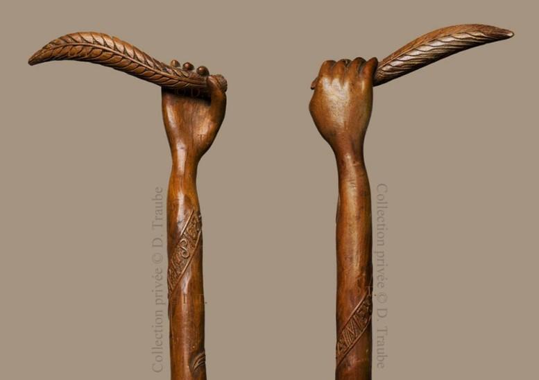 ww1,1ww,guerre,14-18,canne,bâton,art,art populaire,walking stick,art des tranchées,trench art,soldat,poilu,main,laurier,Bois La Reine,