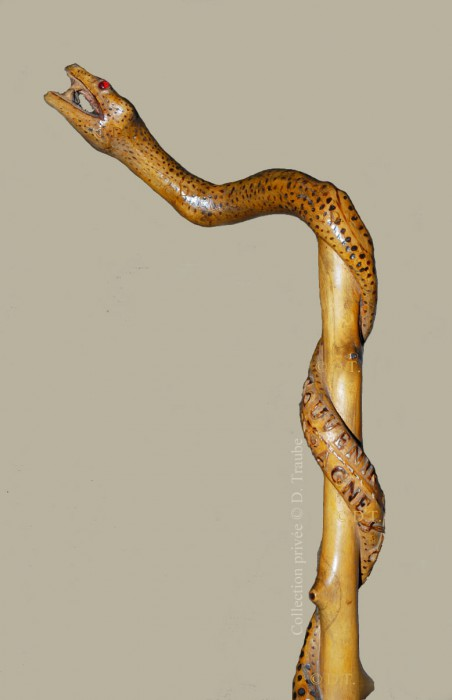 ww1,1ww,guerre,14-18,canne,bâton,art,art populaire,walking stick,art des tranchées,trench art,soldat,poilu,serpent,