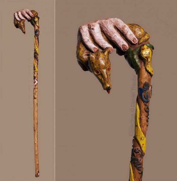 ww1,1ww,guerre,14-18,canne,bâton,art,art populaire,walking stick,art des tranchées,trench art,soldat,poilu,grenouille,chien,art brut,