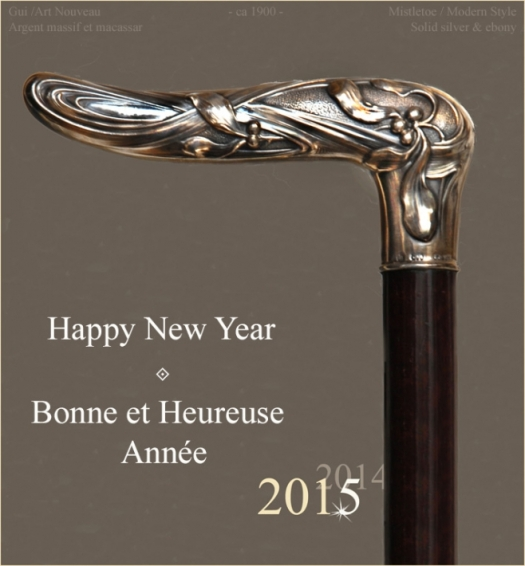 canne,canne de collection,gui,mistletoe,art nouveau,modern style,2015,1900,argent,ébène,macassar,collection,voeux,bonne bonne année,