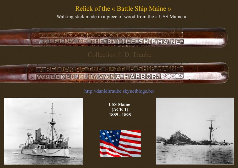canne, walking stick, cane, relique, relick, USS Maine, war, stick, USA, US Navy,