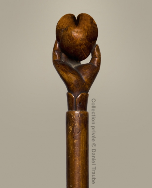 Journée mondiale du coeur, cannes, bois sculpté,  collection, main, art populaire