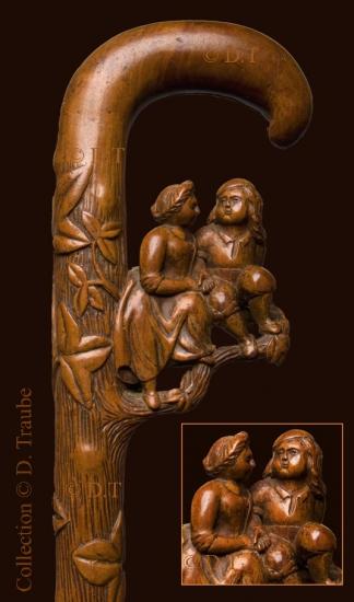canne, art populaire, couple, câlin, Saint Valentin, bois, bois sculpté, monoxyle,