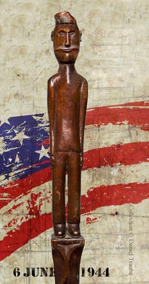 Canne, cane, walking stick,USA, art populaire, folk art, débarquement, Normandie, juin, june, 1944, souvenir, militaire,