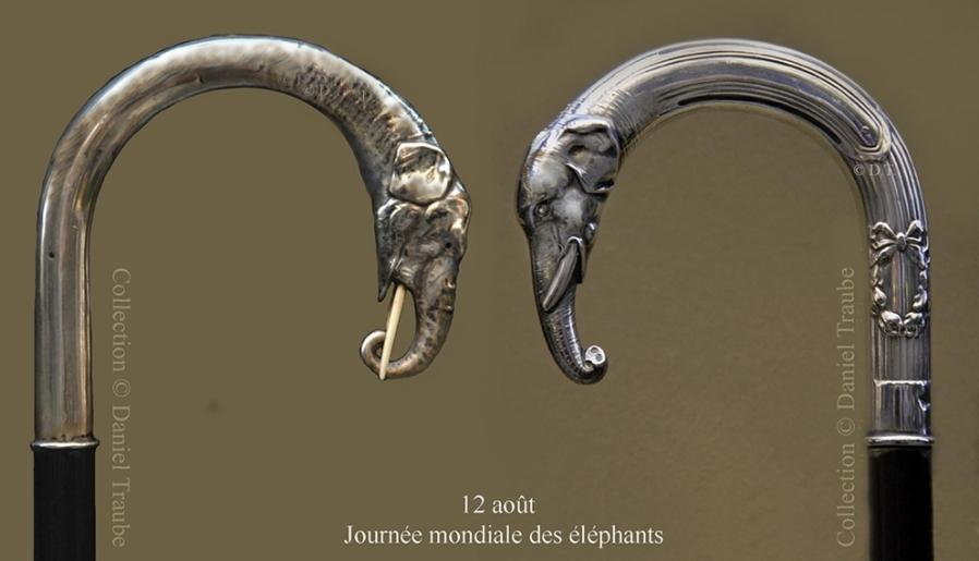 Canne, walking stick, cane, éléphant, argent, ébène, journée mondiale,