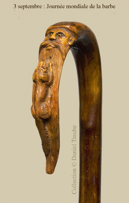 Canne, walking stick, cane, barbe, barbu, journée mondiale, 3 septembre, art populaire, bois, sculpté,