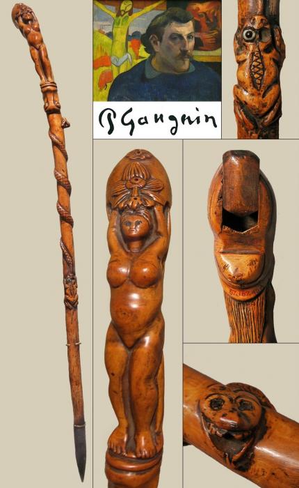 canne, cane, walking stick, Gauguin, Musée, MET, art populaire, folk art, buis, serpent, femme, système,