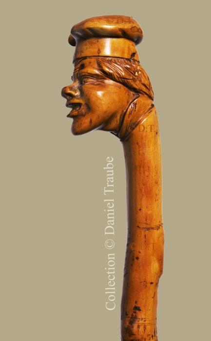 canne, cane, walking  stick, buis, bois sculpté, cuisinier, toque, Antonin Carême,