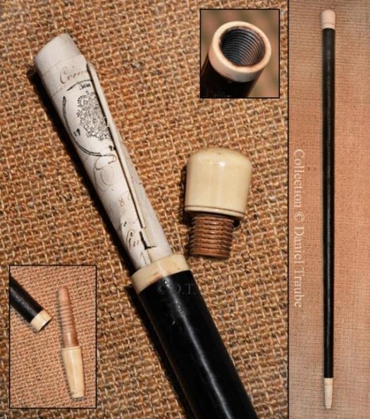 canne,cane,système,gadget,porte document,ébène,ivoire,tournage,cache,secret