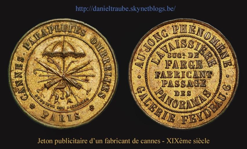 Canne, bâton, cane, walking stick, publicité, Paris, jeton, Farge, Lavaissière,