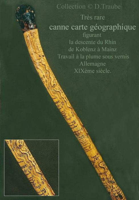 canne, cane, walking stick, gadget, système, carte, map, carte géographique, Allemagne, Mainz, Koblenz, touristique, XIXè,