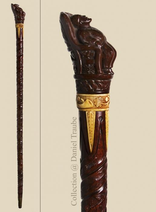 canne, cane, art populaire, folk art, sieste, sommeil, journée moniale, 16 mars, bois sculpté, os, Autriche,