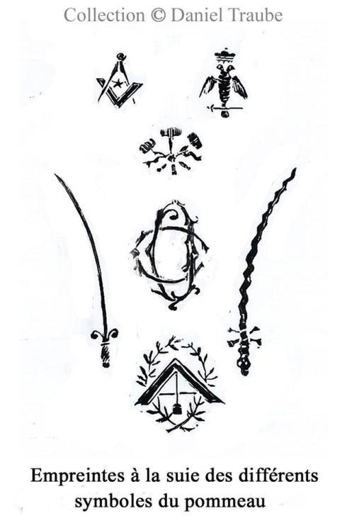 CANNE MACONNIQUE - argent - Empreintes symboles WS